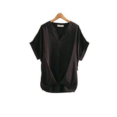 [シオン] 選べる6色展開 トップス サラリ 襟なし ルームウェア お出かけ オソロイ 黒色 ブラック クロ 長袖シ?