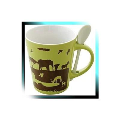 マグカップ - マグ:Φ9×H10.5cm スプーン: W2.7×H12cm