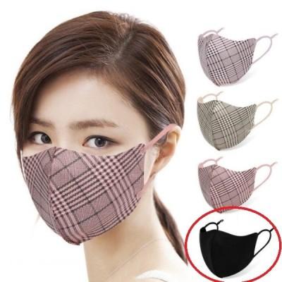 タータン チェック マスク ブラック1枚  個包装 おしゃれ かわいい デザイナーズ 女性用 メール便送料無料 洗える 耳ひも調整可