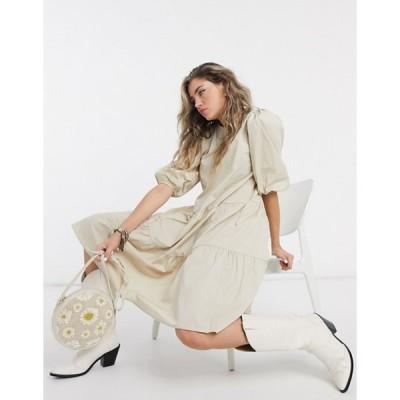 オブジェクト レディース ワンピース トップス Object 3/4 sleeve tiered midi dress in beige