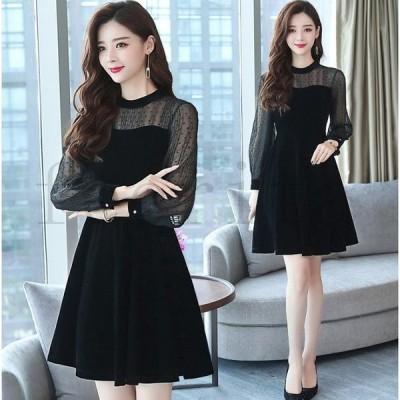 ドレス ワンピース ドレス パーティー 結婚式 ミニ Aライン シースルー 長袖 ブラック 大きいサイズ TL-2338