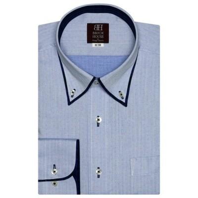 シャツ ブラウス 形態安定ノーアイロン パイピング風ボタンダウン 長袖ビジネスワイシャツ