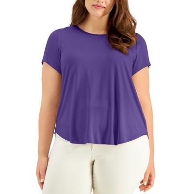 アルファニ カットソー トップス レディース Plus Satin-Trim High-Low T-Shirt, Created for Macy's Spicy Purple