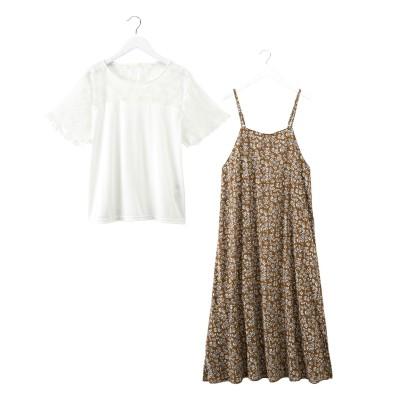 2点セット(花柄キャミワンピース+レース切替トップス) (ワンピース)Dress