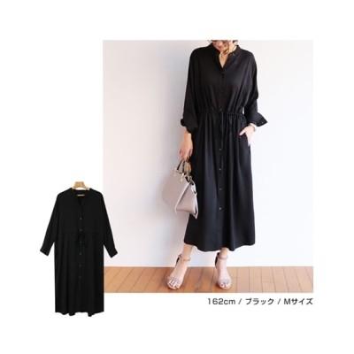レーヨン素材とろみワンピース (ワンピース)Dress