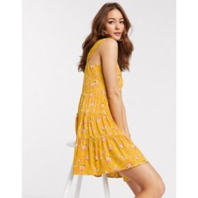 エイソス レディース ワンピース トップス ASOS DESIGN button through mini tiered sundress in ditsy floral print Mustard based flor