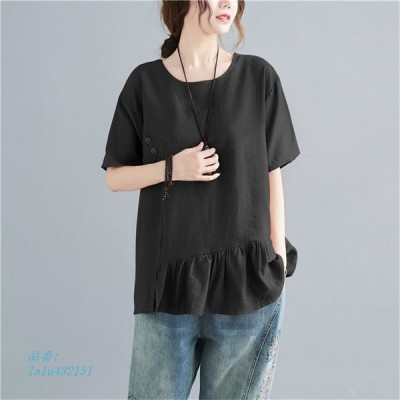 ブラウス シャツ トップス レディース 半袖 無地 体型カバー ゆったり 大きいサイズ Tシャツ 20代 夏 ボタン飾り 40代 フ切替