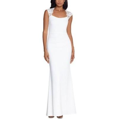 エックススケープ XSCAPE レディース パーティードレス ワンピース・ドレス Lace-Trim Cutout-Back Gown Ivory