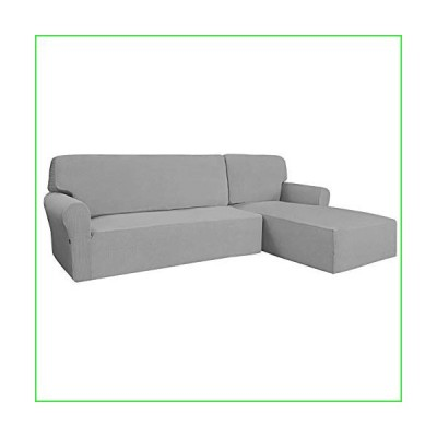 Easy-Going Stretch Sofa Slipcover 2 Pieces L-Shaped Sofa Cover Sectional Couch Cover for Living Room Jacquard Fabric Chaise Slipcover with E
