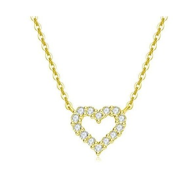 Carleen Solid 14K Real Yellow Gold Round 0.15cttw Diamond Small Tiny Love Open Heart Dainty Pendant Necklace Delicate Jewelry for Women Girl