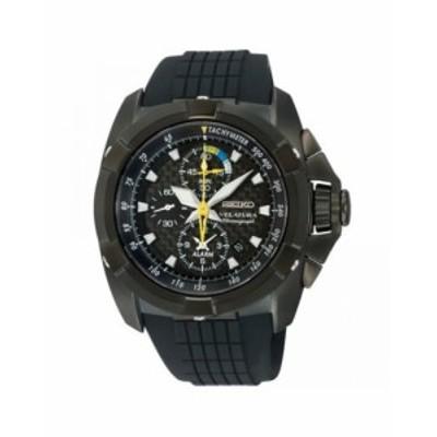 腕時計 セイコー メンズ Velatura Alarm Chronograph Black Dial Rubber Strap