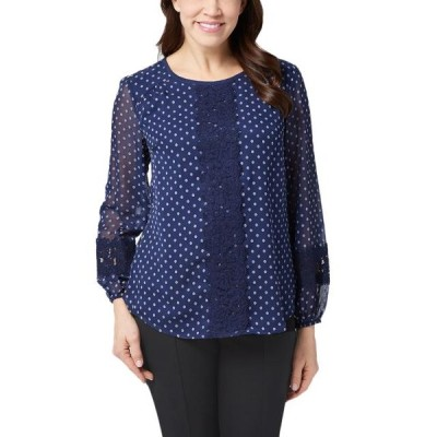 レディース 衣類 トップス Isaac Mizrahi Live! Womens Bi-Color Clipped Dot Peasant Blouse 6 Navy A352275 ブラウス&シャツ