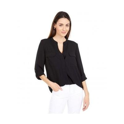 Vince Camuto ヴィンスカムート レディース 女性用 ファッション ブラウス Long Sleeve Matte Rumple Two-Pocket Blouse - Rich Black