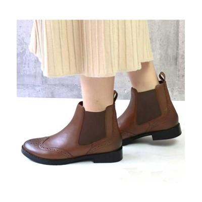 BETTY CLUB / 【リアルレザー】サイドゴアウイングチップショートブーツ WOMEN シューズ > ブーツ