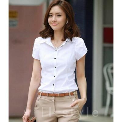 ブラウスレディース白シャツ人気新作オフィスシフォンエリブラウス半袖婦人服通勤通学大きいサイズ無地スタイリッシュ