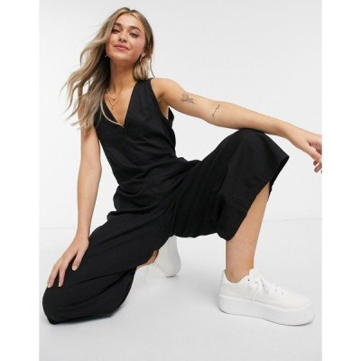 エイソス レディース ワンピース トップス ASOS DESIGN soft denim slouchy v neck jumpsuit in black Black