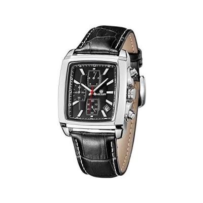 MEGIRクォーツメンズ手首のレザーウォッチ、アナログ防水クロノグラフの腕時計、ファッションカジュアルルミナスメンズウォッチオフィ