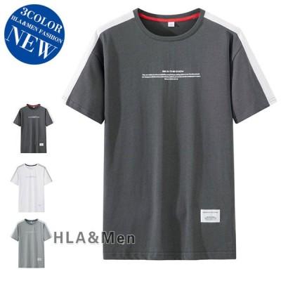 ロゴT メンズ Tシャツ 半袖 カットソー クルーネック ティーシャツ トップス カジュアル 夏 サマー 父の日 2021