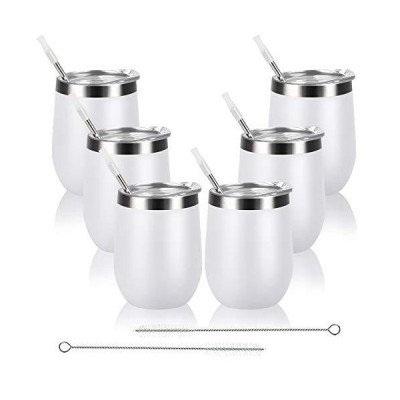 6 Pack Stainless Steel Wine Tumbler with Lid and Straw, 12 Oz Double Wall V