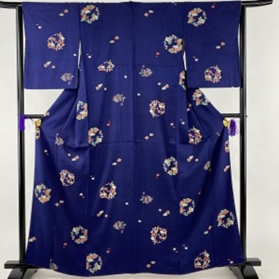 小紋 美品 優品 花丸文 竹 金彩 藍色 袷 身丈163cm 裄丈62cm S 正絹 中古
