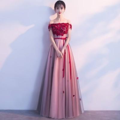 パーティードレス  大きいサイズ オフショル ドレス ウエストリボン シースルー お呼ばれ 演奏会 マキシ丈 フラワー ピンク