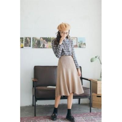 韓国 イレギュラー  ハイウエスト セータースカート ニットスカート