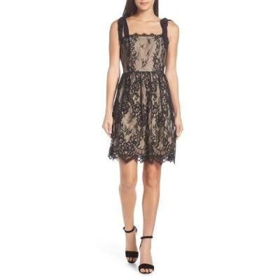 ハートルーム レディース ワンピース トップス Emma Fit & Flare Lace Dress BLACK