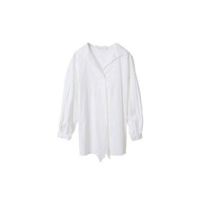 【シャツ】エアリーバックリボンシャツ (オフホワイト)