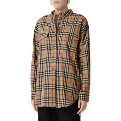 バーバリー BURBERRY レディース ブラウス・シャツ トップス Turnstone Oversize Vintage Check Stretch Cotton Shirt Archive Beige Ip Chk