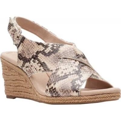 クラークス Clarks レディース サンダル・ミュール ウェッジソール シューズ・靴 Lafley Alaine Wedge Sandal Taupe Snake Synthetic Leather
