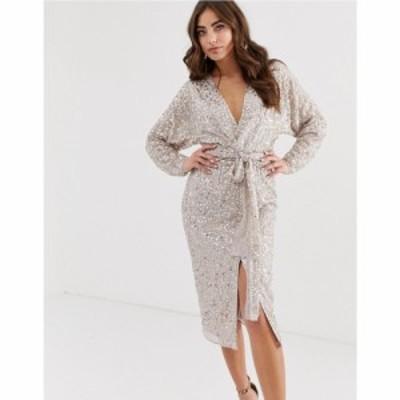 エイソス ASOS DESIGN レディース ワンピース ラップドレス ミドル丈 midi dress with batwing sleeve and wrap waist in scatter sequin