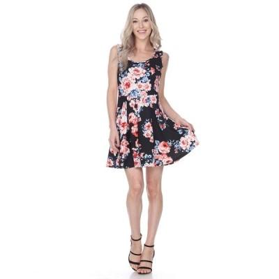 ホワイトマーク ワンピース トップス レディース Women's Flower Crystal Dress Black