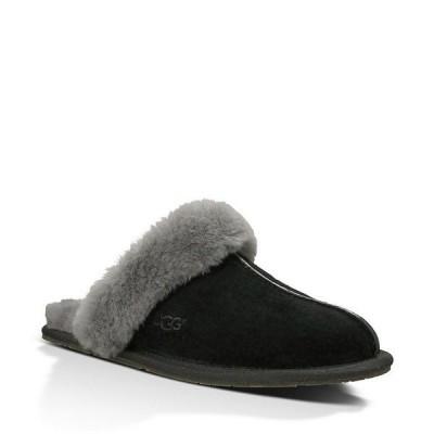アグ レディース サンダル シューズ UGG Scuffette II Sheepskin Slippers Black/Grey