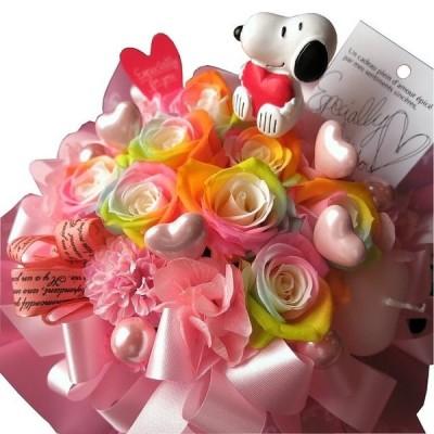 結婚祝い 結婚記念日 スヌーピーハート入り 花束風 レインボーローズ プリザーブドフラワー ケース付き