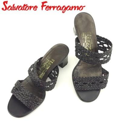 サルヴァトーレ フェラガモ サンダル シューズ 靴 ♯5D メッシュ編みバンド Salvatore Ferragamo 中古