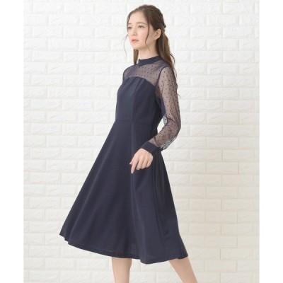 ドレス ドットレース胸元切替ワンピース・ドレス