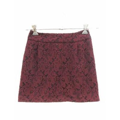 【中古】ジュエルチェンジズ Jewel Changes アローズ スカート 台形 ミニ 刺繍 花柄 34 赤 レッド /CT レディース