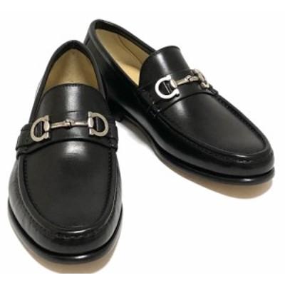 未使用 フェラガモ 靴 ガンチーニ レザーシューズ 革靴 ブラック GIOSTRA #7 EEE ビジネスシューズ メンズ ローファー 黒 FERRAGAMO