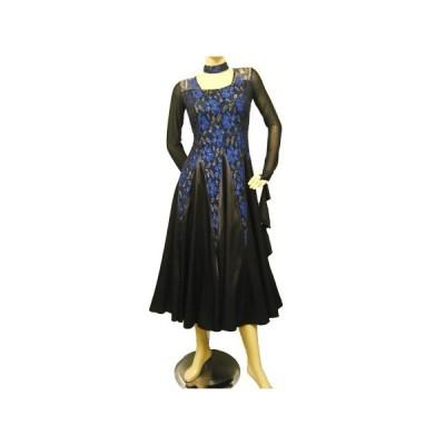 社交ダンスドレス プリントレースモダンドレス スカート部分はサテン地を使用しています ブルー