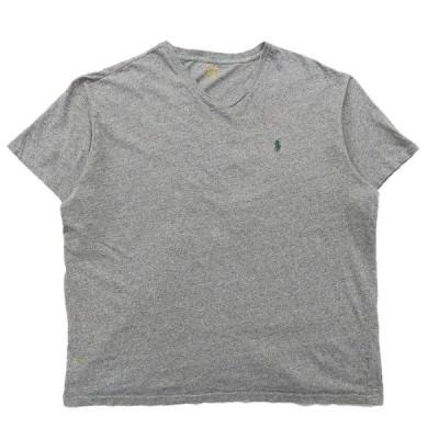 【25%off】古着 ラルフローレン POLO RALPH LAUREN Vネック ワンポイントTシャツ グレー サイズ表記:XL