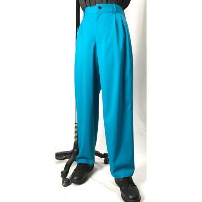 イージーパンツ ターコイズ ブルー ストレッチ有 無地 ダンス 衣装 男女兼用 XS S M L ロングパンツ スラックス カラーパンツ  型番EZ001 サイズオーダー 可能