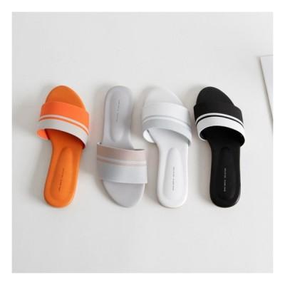 サンダル レディース フラット ぺたんこ ペタンコ 黒 ブラック ホワイト グレー オレンジ 靴 婦人靴 ファブリック