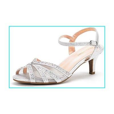 DREAM PAIRS Women's Nina-166 Silver Low Heel Pump Sandals - 8 M US【並行輸入品】