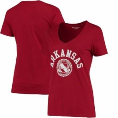 Champion チャンピオン スポーツ用品  Champion Arkansas Razorbacks Womens Cardinal College Seal V-Neck T-Shirt