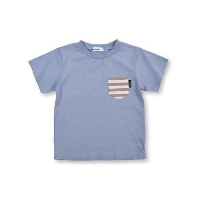 【べべオンラインストア】 天竺 柄ポケット Tシャツ (90~130cm) キッズ ブルー 120cm BEBE ONLINE STORE