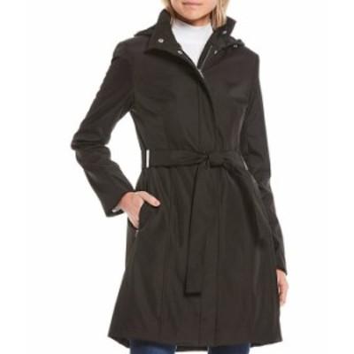 カルバンクライン レディース コート アウター Single Breasted Stand Collar Belted Trench Coat Black