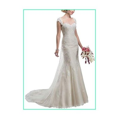 Clothfun Womens Sweetheart Lace Mermiad Beach Wedding Dresses for Bride 2020 Long Bridal Gowns with Beads Style2 Ivory 6並行輸入品