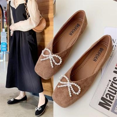 レディース パンプス フラットヒール モカシン スリッポン OL 通勤 リボン 可愛い 女子靴