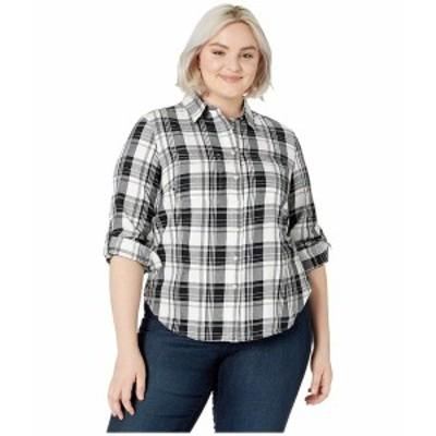 ラルフローレン レディース シャツ トップス Plus Size Classic Cotton Shirt Polo Black/White