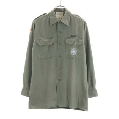 ドイツ軍 80s 長袖 ミリタリーシャツ カーキ GERMANY MILITARY メンズ 古着 200831